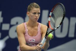 Camila Giorgi in azione durante il torneo di Linz